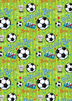 Children's Footballs, Stars & Trophy Wrapping Paper- 1 Sheet & Matching Gift Tag