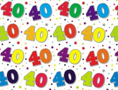 Special Age 40 Gift Wrapping Paper 1 Sheet & Matching Gift Tag - 40th Birthday