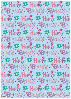 Female Birthday Floral Gift Wrapping Paper - 1 Sheet & Matching Gift Tag