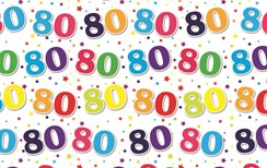 Special Age 80 Gift Wrapping Paper 1 Sheet & Matching Gift Tag - 80th Birthday