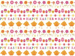 2 Sheets Quality Easter Gift Wrapping Paper - Happy Easter Chicks and Eggs