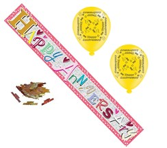Happy Wedding Anniversary Party Pack - Banner, Latex Balloons & Table Confetti