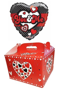"Heart 18"" I Love You Foil Helium Balloon In Box - Black You & Me Hearts & Spots"
