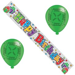 Happy Birthday Party Pack - Silver Birthday Banner, Multicoloured Balloons