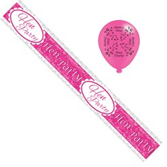 Hen Party Foil Party Banner & Balloons - Pink Hen Party