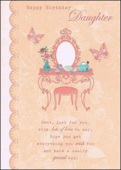"""Gold Daughter Birthday Card - Pink Dressing Table & Big Butterflies 7.5"""" x 5.25"""""""