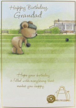 "Gold Grandad Birthday Card - Bear Wearing Flat Cap & Playing Bowls 7.5"" x 5.25"""