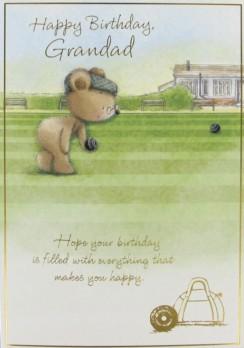 "Gold Grandad Birthday Card - Bear Wearing Flat Cap & Playing Bowls 7.5"" x 5.25"""