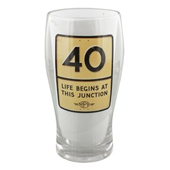 MPH Age 40 Male Junction Road Sign Pint Glass In Gift Box - 40th Birthday Gift