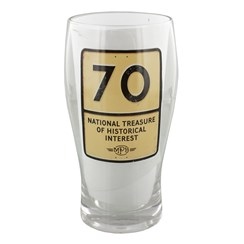 MPH Age 70 Male Historical Road Sign Pint Glass In Gift Box - 70th Birthday Gift