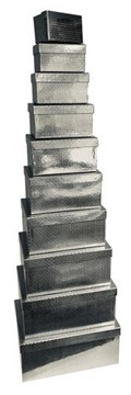 Set Of 10 Holographic Nested Oblong Gift Boxes - Bright Silver Metallic