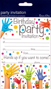 Pack Of 20 Children's Birthday Party Invites - Funky Multicoloured Hands Design