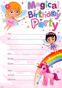 Pack Of 20 Children's Birthday Party Invites - Girl's Fairy's Pony & Rainbow
