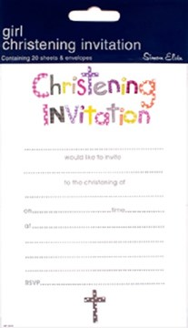Pack Of 20 Christening Day Invites & Envelopes - Girl's Pastel Text & Grey Cross
