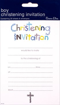 Pack Of 20 Christening Day Invites & Envelopes - Boy's Blue Text & Grey Cross
