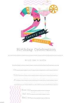 Pack Of 20 21st Birthday Party Invitation Sheets & Envelopes - 21st Female
