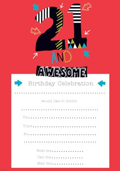 Pack Of 20 21st Birthday Party Invitation Sheets & Envelopes - 21st Male