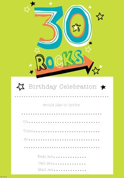 Pack Of 20 30th Birthday Party Invitations Sheets & Envelopes - Green 30 Rocks