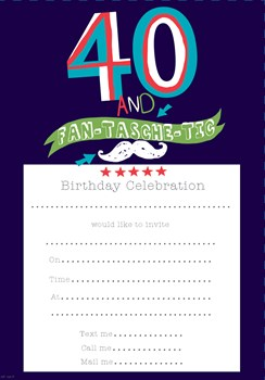 Pack Of 20 40th Birthday Party Invitation Sheets & Envelopes - 40th Male