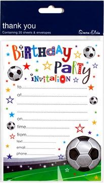 Pack Of 20 Children's Birthday Party Invites - Boy's Football Design