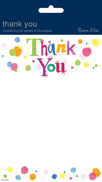 Pack Of 20 Open Thank You Notes & Envelopes - Multicoloured Spots Design