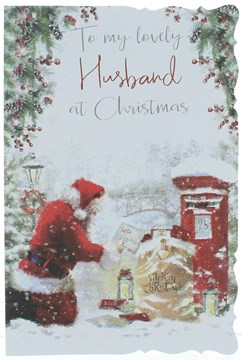 Husband Christmas Card - Santa Collecting Letters By Postbox With Glitter 9 x 6""
