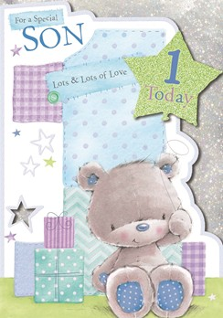 "Vibrance Son Handcrafted 1st Birthday Card - Bear & 1 Today Balloon 9.5"" x 6.75"""