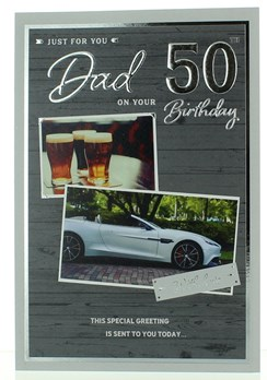 "ICG Dad 50th Birthday Card - Grey Wood, Pints & Sports Car 9"" x 6"""