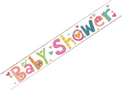Baby Shower Foil Party Banner - Multicoloured Pastel Colours with Tiny Hearts