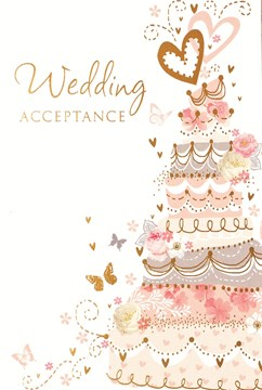 "Wedding Day Acceptance Card & Envelope - Orange Cake & Butterflies 5.5"" x 3.5"""