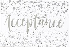 "Open Acceptance Card & Envelope - Silver Metallic Text & Spots 5.5"" x 3.5"""