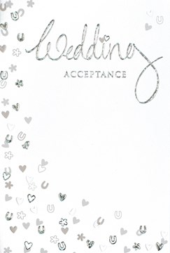 Wedding Day Acceptance Card & Envelope - Silver Foiled Hearts Horseshoe 5.5x3.5""