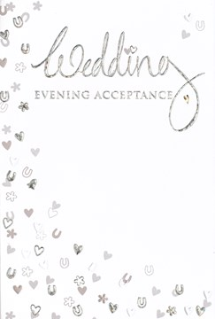 Wedding Evening Acceptance Card - Silver Foiled Hearts Horseshoe 5.5x3.5""