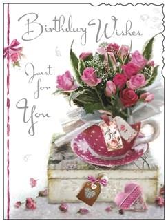 "Jonny Javelin Open Female Birthday Card - Teacup, Roses & Gift Box 7.25"" x 5.5"""