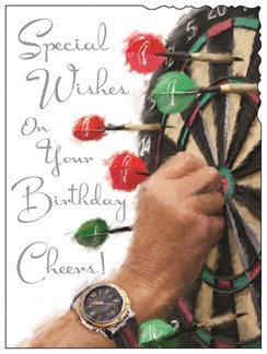 "Jonny Javelin Open Male Birthday Card - Man, Red Darts & Dartboard 7.25"" x 5.5"""