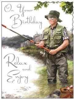"""Jonny Javelin Open Male Birthday Card - Man & Fishing Rod In River 7.25"""" x 5.5"""""""