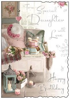 "Jonny Javelin Daughter Birthday Card - Sofa, Tulips, Gifts & Candles 9"" x 6.25"""