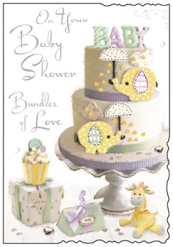 "Jonny Javelin Baby Shower Greetings Card - Big Cake, Presents & Animals 9"" x 6"""