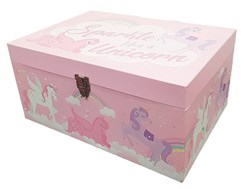 Children's Treasure Chest Toy Storage Box - Pink & Lilac Sparkle Like A Unicorn