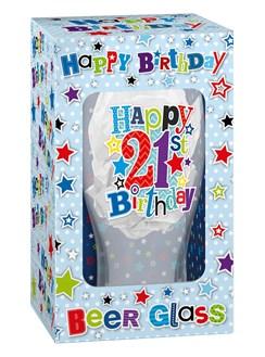 Happy Birthday 21 Celebration Beer Glass & Blue Presentation Box -  21st Gift