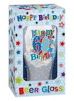 Happy Birthday 60 Celebration Beer Glass & Blue Presentation Box - 60th Gift
