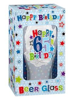 Happy Birthday 65 Celebration Beer Glass & Blue Presentation Box - 65th Gift