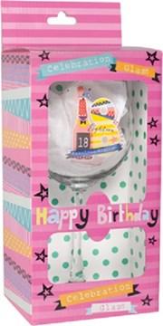 Fabulous 18 Celebration Wine Glass & Pink Presentation Box - 18th Birthday Gift