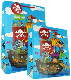 1 Large & 1 Extra Large Male Gift Bag - Juvenile Blue Pirates, Ship & Animals