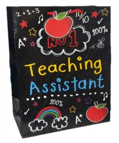 Large Thank You No 1 Teaching Assistant Gift Bag - Chalk Effect 13 x 10.5 x 5.5""