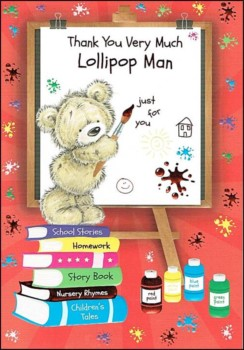 "Thank You Lollipop Man Greetings Card - Bear Painting On Whiteboard 7.5"" x 5.25"""