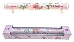 Little Bird & Ellie Ceramic Birth Certificate Scroll Holder & Pink Gift Box