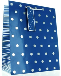 "Large Male Gift Bag - Vibrant Deep Blue & Silver Metallic Polka Dots 13"" x 10.5"""