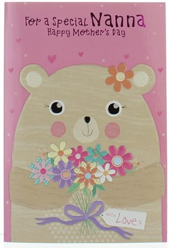 """Nanna Mother's Day Card - Bear Flowers & Hearts Pink Foil Writing 7.75x5.25"""""""