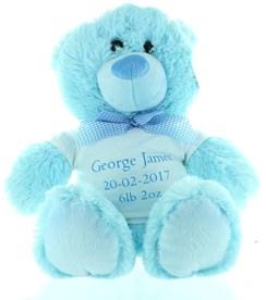 "13.5"" Blue Baby Boy Teddy Bear Soft Toy Plush & Personalised White T Shirt"